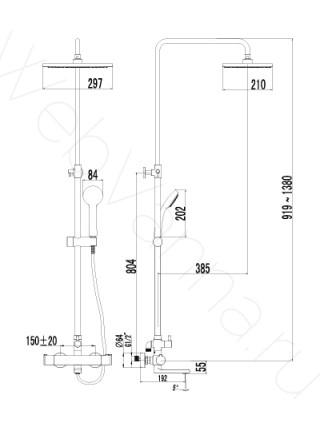 Душевая стойка Lemark Yeti LM7862C, хром, термостат, с изливом
