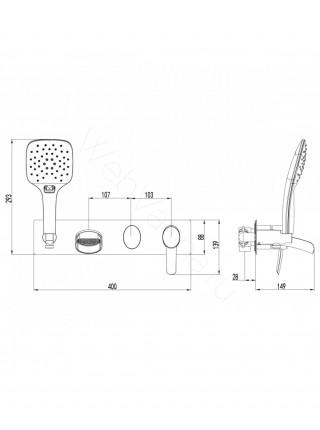 Смеситель для ванны Lemark Atlantiss LM3224C с каскадным изливом, встраиваемый