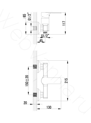 Смеситель для душа Lemark Grace LM1503C с лейкой