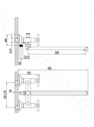Смеситель для ванны и душа Lemark Neo LM2201C, с длинным изливом