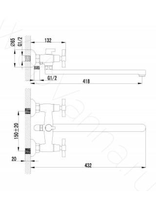 Смеситель для ванны и душа Lemark Neo LM2212C, с длинным изливом
