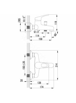 Смеситель для ванны и душа Lemark Omega LM3102C