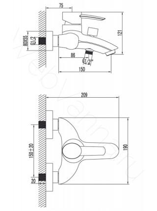 Смеситель для ванны и душа Lemark Atlantiss LM3202C