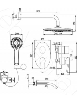 Душевая система встраиваемая Lemark Atlantiss LM3222C