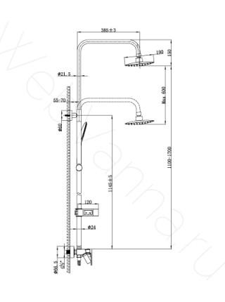 Душевая стойка Lemark Tropik LM7002C, хром, с изливом