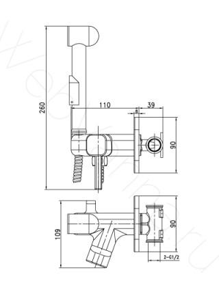 Смеситель встраиваемый Lemark Solo LM7165C, с гигиеническим душем
