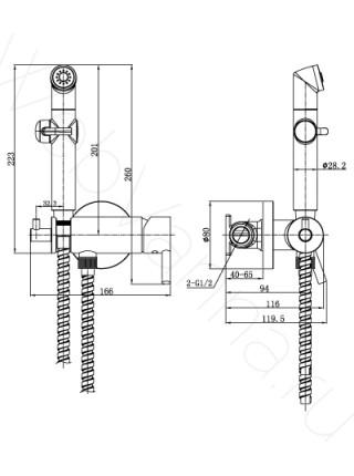 Смеситель встраиваемый Lemark Solo LM7166C, с гигиеническим душем