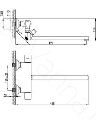 Смеситель для ванны Lemark Thermo LM7734C, термостат, с длинным изливом
