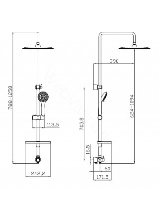 Душевая стойка Lemark LM8802C, хром