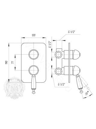 Смеситель для ванны Migliore Oxford ML.OXF-6331 BR встраиваемый
