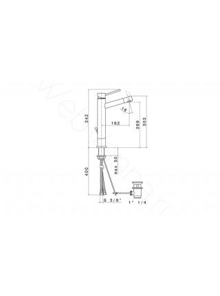 Смеситель для наладных раковин Newform X-Trend 2214.21.018, высокий
