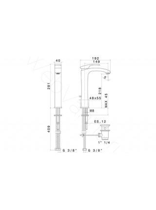 Смеситель для накладных раковин Newform X-Sense 62513.21.018, высокий