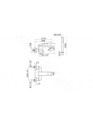Смеситель для ванны Newform X-Sense 62540С.21.018