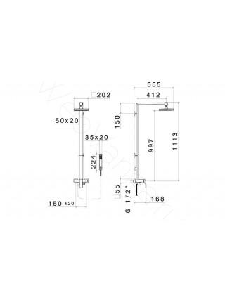 Душевая стойка Newform X-Sense 62554.21.018