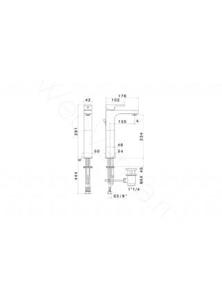 Смеситель для накладных раковин Newform X-Light 64014.21.018, высокий