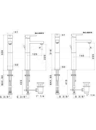 Смеситель для накладных раковин Newform Ergo 65813.05.007, черная вставка, высокий