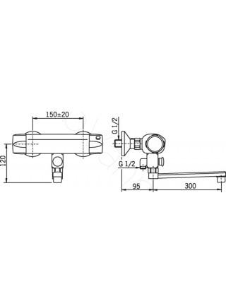 Смеситель для ванны Oras Nova 7446X термостат, длинный излив