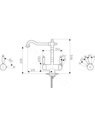 Смеситель для кухни Omoikiri Amagasaki-BL 4994067, с подключением к фильтру