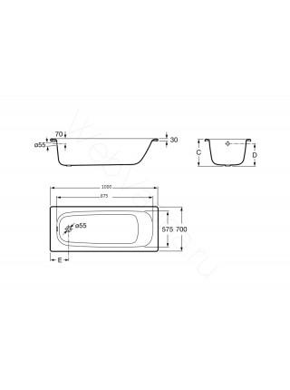 Стальная ванна Roca Contesa 100x70, 212107001