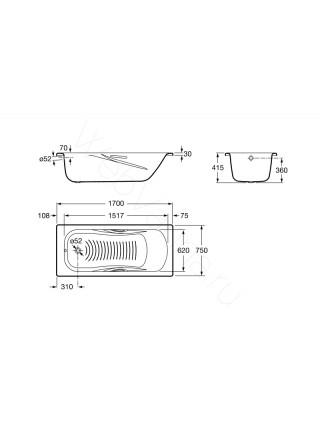 Стальная ванна Roca Princess-N 170x75 с ручками, 2202E0000+291110000