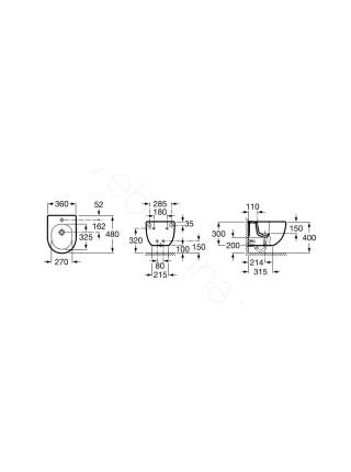 Биде подвесное Roca Compact Meridian-N, 357246000, укороченное 48 см