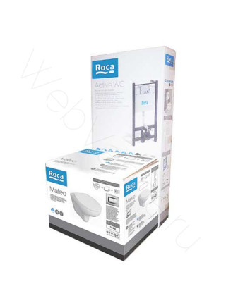 Комплект Roca Mateo 893100010, (инсталляция+унитаз+кнопка+крепеж+сидение)