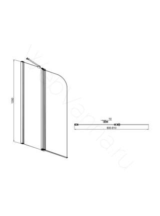 Шторка на ванну Sole Life 1 80 см, стекло прозрачное