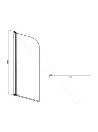 Шторка на ванну Sole Life 2 70 см, стекло прозрачное