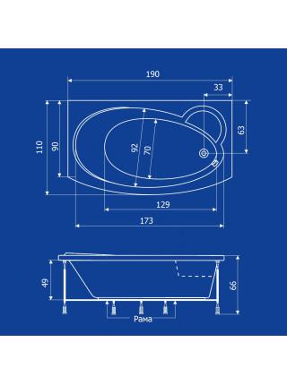 Акриловая ванна Termolux Infinity 190х110
