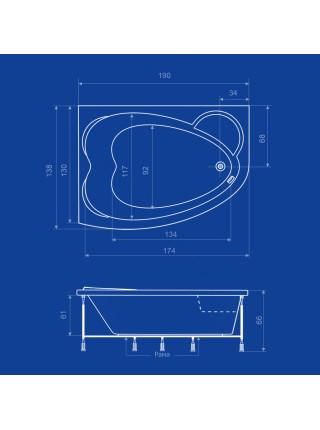 Акриловая ванна Termolux Infinity Love 190х138 L/R