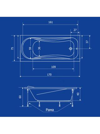 Акриловая ванна Termolux Leda 170х75 Г/М