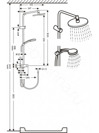 Душевая стойка Timo Saga SX-1018, хром