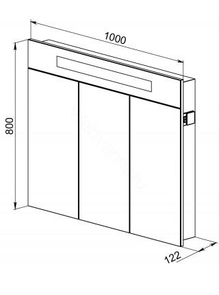 Зеркальный шкаф Topline Senator 100 см, венге, с подсветкой