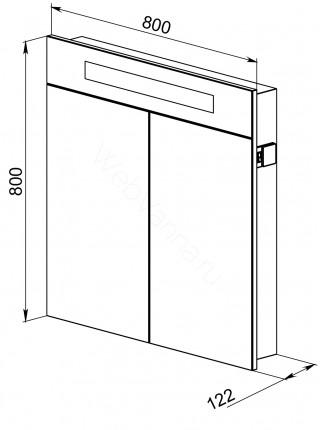 Зеркальный шкаф Topline Senator 80 см, венге, с подсветкой
