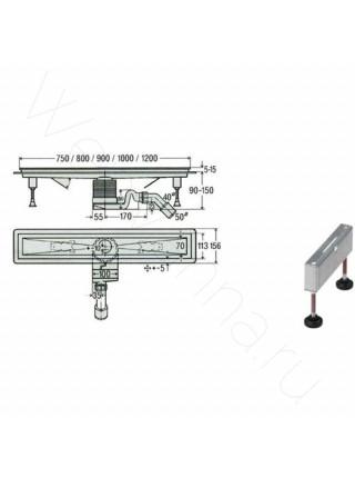 Душевой лоток Viega Visign 619077, 900 мм, сифон, решетка, матовый хром