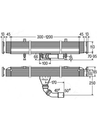 Душевой лоток Viega Advantix Vario 736736, 300-1200 мм, пристенный монтаж