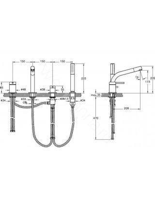 Смеситель на борт ванны Vitra Pure A41270EXP, 4 отверстия