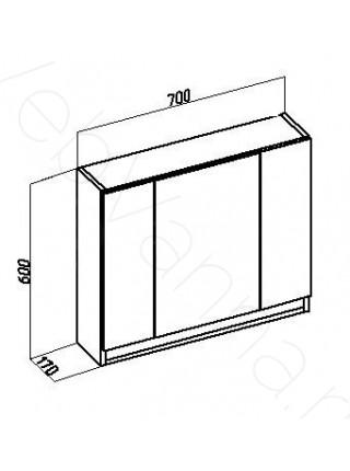 Зеркальный шкаф Valente Massima M700.12, 70 см, белый
