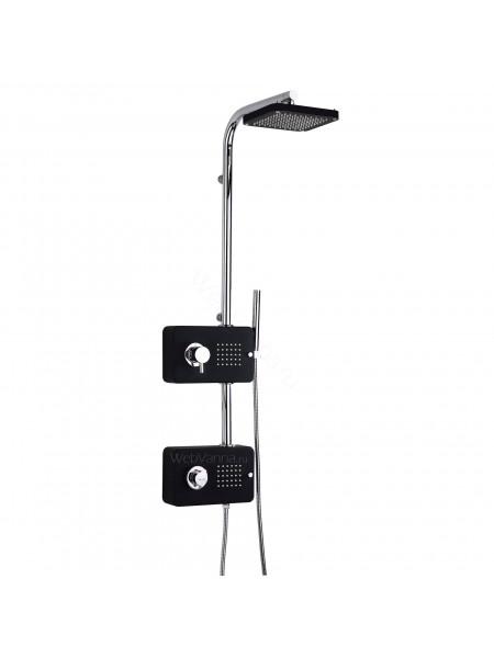 Душевая панель Valentin I-Deco Cubo, хром/черный, термостат