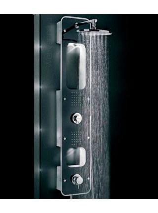 Душевая панель Valentin I-Deco Lux, черное стекло, термостат, подсветка