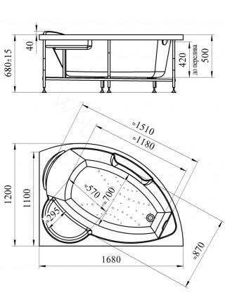 Акриловая ванна Vannesa Алари 168х120 левая
