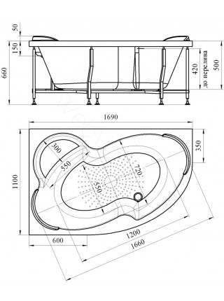 Гидромассажная ванна Wachter Ирма 1 169х110 левая White