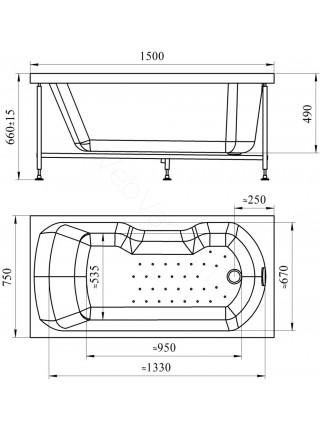 Акриловая ванна Vannesa Лира 150х75