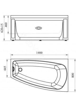 Акриловая ванна Vannesa Мэги 140х80 правая