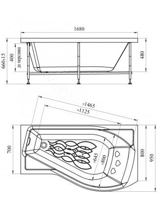 Акриловая ванна Vannesa Миранда 168х95 левая