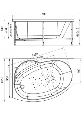 Акриловая ванна Vannesa Монти 150х105 левая