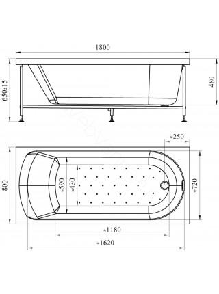 Акриловая ванна Vannesa Николь 180х80