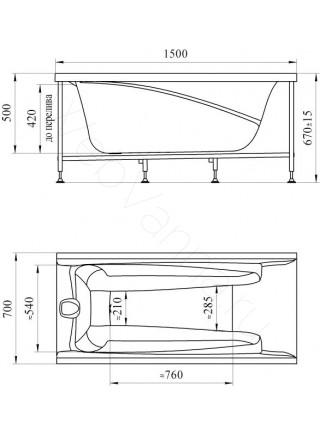 Акриловая ванна Vannesa Орнелла 150х70