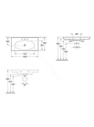 Раковина накладная Villeroy & Boch La Belle 100 см 1/3 отверстия 6124 G1 R1