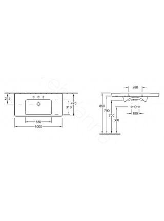 Раковина мебельная Villeroy & Boch Subway 2.0 100 см 7175 A0 R1